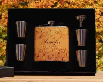 Personalized Flask for Women, Bridesmaid Gift, Gold, Autumn Wedding, Fall Wedding, Yellow
