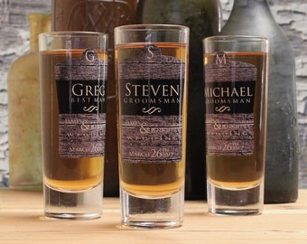 Personalized Shot Glasses, Set of 4, Groomsmen Gifts