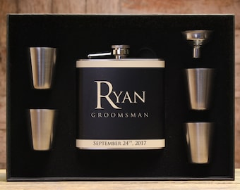 Unique Flasks, Personalized Groomsmen Gifts, Custom Flasks, Set of 9, Black and Gold Wedding