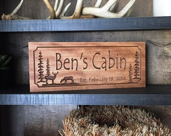 Personalized Cabin Sign Wooden Last Name Family Camp Sign Great Gift Idea Deer Hunting camp Phesants Hunting Wood Wall Art Wood Cabin Signs