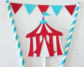 Circus cake topper, winter circus cake topper, circus party, circus tent cake topper