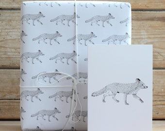 Fox print gift wrap, tags and card set