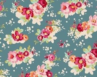 Tilda Flower cloud Teal Patchwork Craft Quilting Cotton fabric ~ fq
