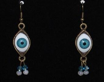 Blue Evil Eye Amulet Protection earrings