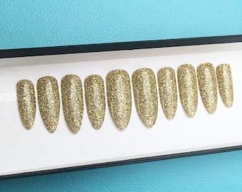 NAILED IT! Hand Painted False Nails - Gold Glitter