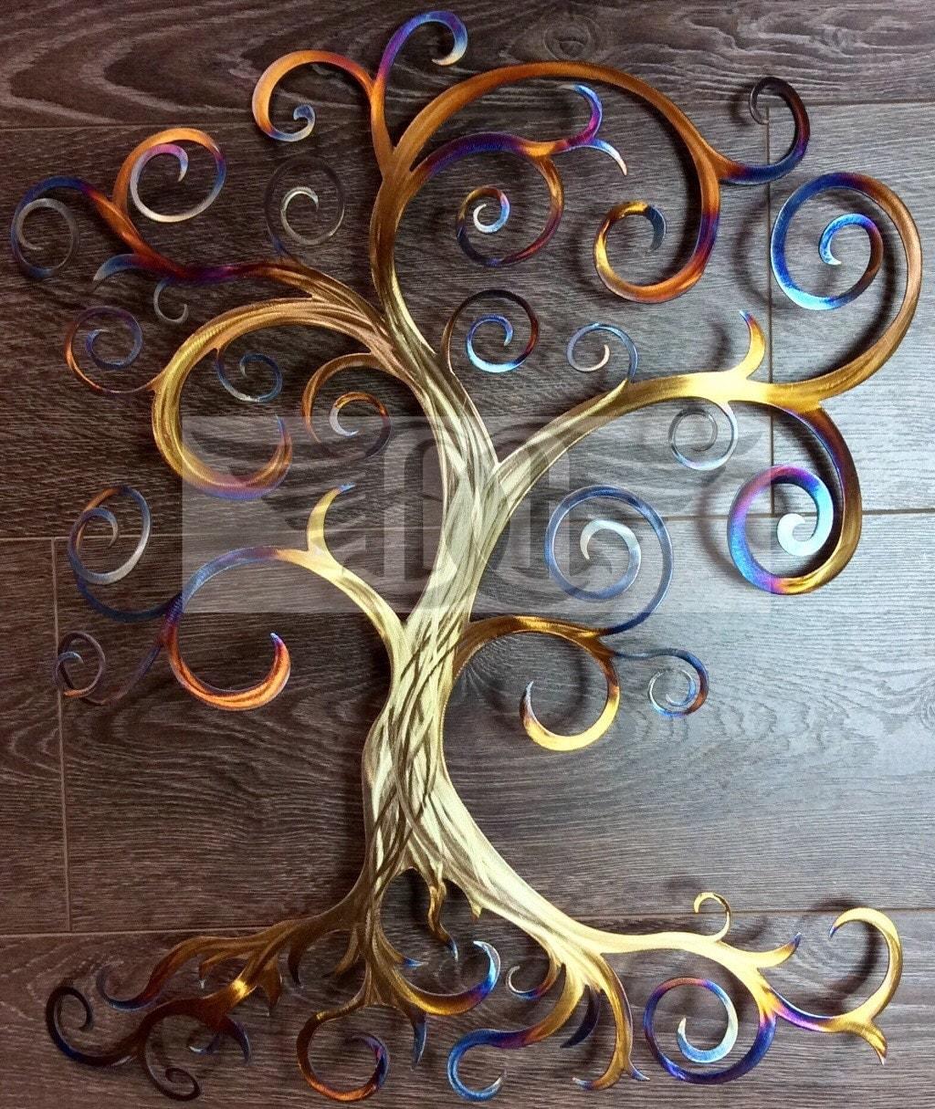 Large Metal Wall Art Swirly Tree Wall Decor Tree of Life