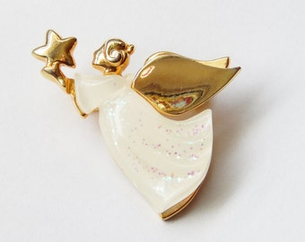 AAi Pin Angel Holding Star - White And Gold