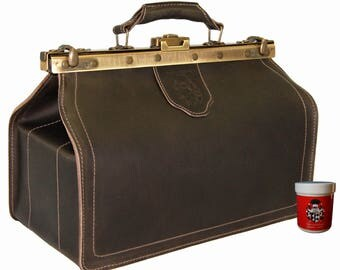 Doctors bag HIPPOCRATES, brown Saddle-Leather