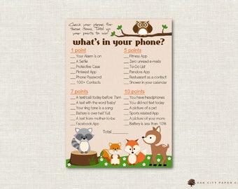 Whats In Your Phone Baby Shower Game   Woodland Animal Baby Whats In Your  Phone Baby