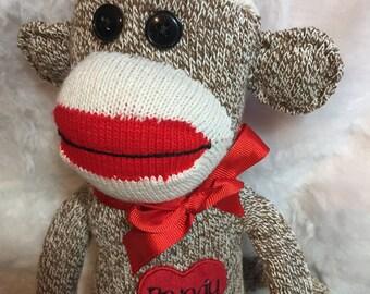 Original Sock Monkey, Sock Monkey Doll, Red Heel Sock Monkey, Handmade Sock Monkey, Personalized doll