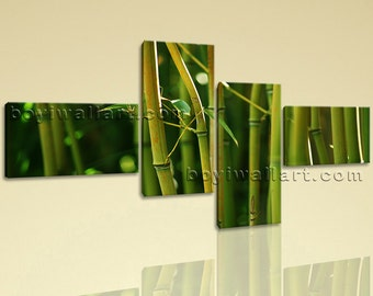 Large Modern Contemporary Feng Shui Wall Art HD Print On Canvas Bamboo Picture, Extra Large Bamboo Wall Art, Bedroom, Verdun Green