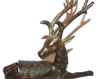 Vintage Solid Brass Deer Figurine Inkwell Box - Mid Century Modern Reindeer