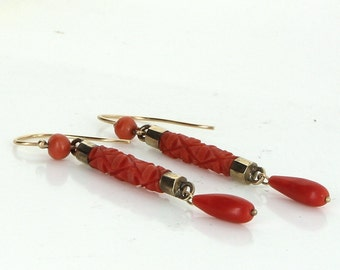 Coral Dangle Earrings Vintage 14 Karat Yellow Gold Estate Fine Jewelry Heirloom