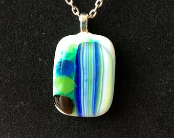 Blue & Green Fused Glass Pendant