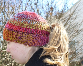 RTS Messy Bun Hat, Ponytail Beanie, Ready to Ship, Get by Christmas, Handmade Crochet Messy Bun Beanie, Knit Pony tail Hat