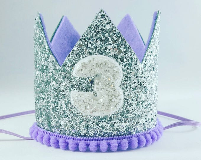 Birthday Crown || Lilac and Silver Birthday || purple || Silver Crown || Birthday Girl || 3rd Birthday || Party Crown ||  Birthday Hat