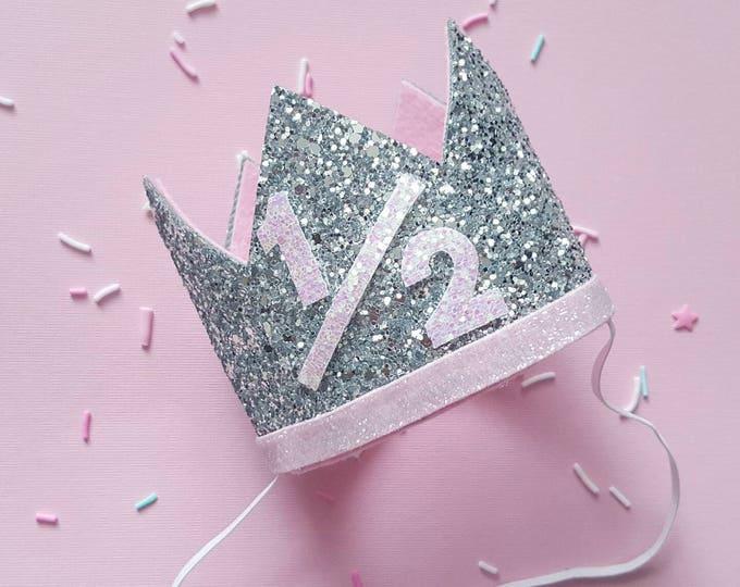 Half Birthday Crown || Pink and Silver Birthday || Gold Crown || Birthday Girl || UnBirthday || Baby Crown || Birthday Girl || 6 months