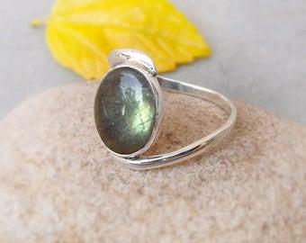 Labradorite Silver Jewelry Labradorite Ring 925 Solid Silver Ring Boho Ring Handmade Jewelry Labradorite cabochon size 5 6 7 8 9 10 11