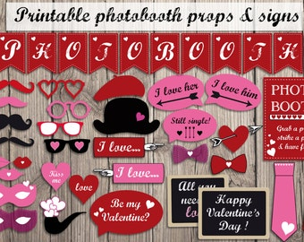 Printable Valentines photobooth props - instant download photo booth props garland & sign - valentine party photo booth accessories
