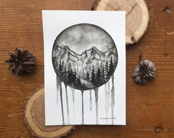 B&W Drip Mountain Scene - Original Watercolor Painting