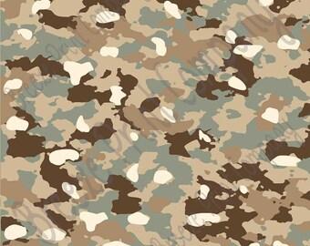 Camouflage craft  vinyl sheet - HTV or Adhesive Vinyl -  green brown beige tan camo army pattern  HTV