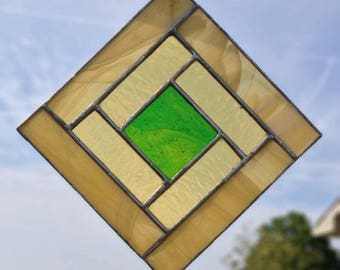 Yellow Geometric Stained Glass Sun Catcher - Yellow Diamond Suncatcher Green Square Amber Stained Glass Window Hanging