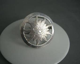 Romantic large hand made solid silver edelweiss brooch, 1930s.