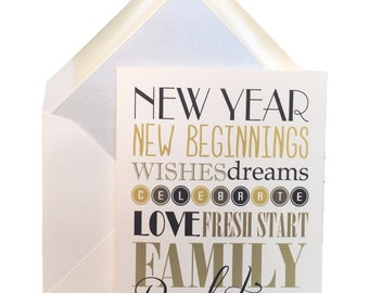 "Happy New Year Cards, Box of 8 w/ lined envelopes, Greeting Cards, Celebrate, January, resolutions, New Beginnings, Fresh Start,  4"" X 5.5"""
