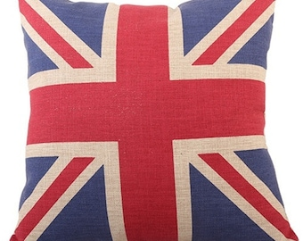 "Union Jack Pillow Cover, Cotton Linen Poly Blend, Decorative Pillows, Flag Pattern, England, Home Decor, Cushion Cover, Red, Blue, 18"" X 18"""