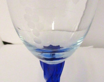8.5in Tall Stem Glass Cobalt Blue and Clear Glass Handblown WITH Gorgeous Etchings Bunches of Grapes Beautiful