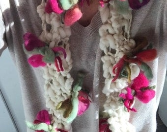 Blooming Flower Wool Scarf Tumblr Indie Pastel grunge Sftin Cream Colorful Flowers Urban Chic Hippie Boho OOAK by The Wild Willows