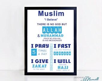 Muslim 5 Pillars of Islam Print Design 2