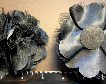 """1 Each 3"""" Satin and Tulle Pretty & Fluffy Flower - Choice of Color - Hair Bow Embellishment"""