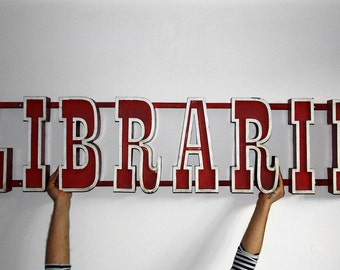 Vintage Large LIBRARY sign  / Socialist Signage Advertising / Metal Volumetric Letter / Reading Channel Letter / Romania - 70s