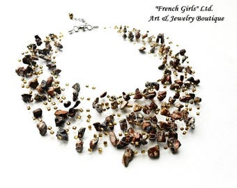 Leopard Skin Jasper Multistrand Necklace Statement Floating Raw Gemstone Glass Seed Beads Air Crochet Brown Necklace Trending Jewellery