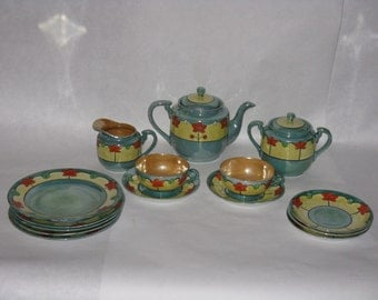 Vintage Takito Nippon lusterware tea set green orange flowers TT diamond mark made in Japan