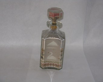 Vintage sand art bottle swan church southwest scene