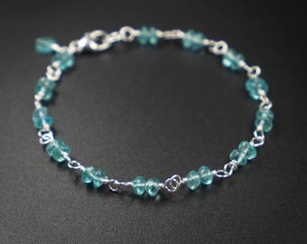 Apatite bracelet, apatite sterling silver handmade semiprecious stone link bracelet stacking bracelet aqua blue silver  link bracelet
