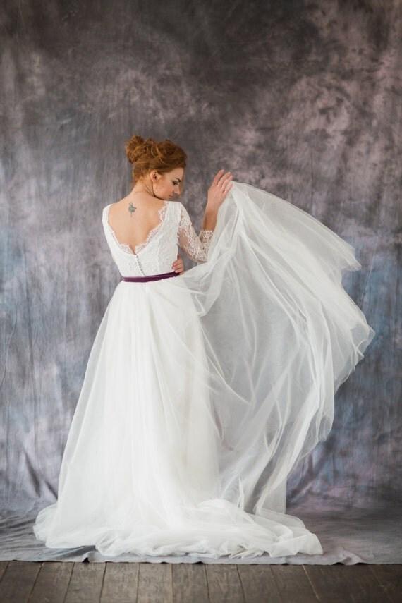 Überbacken offen zurück Hochzeitskleid mit geschichteten