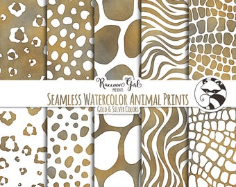 Seamless Watercolor Animal Prints in Gold and Silver Colors Digital Paper Set - Personal & Commercial Use