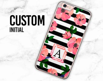 Personalised Monogram Striped Watercolor Floral Hard Case for iPhone 4, 4s, 5, 5s, 5c, 6, 6 Plus, Samsung Galaxy S3, S4, S5, S6, S6 Edge