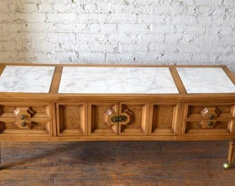 Gorgeous Vintage Wood/Marble Coffee Table