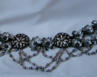 Belt. Tribal fusion belly dance belt, silver-black-gray belt, gray flowers, gray dasies