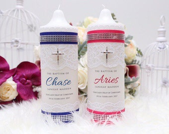 Handcrafted and designed baptism/christening candle