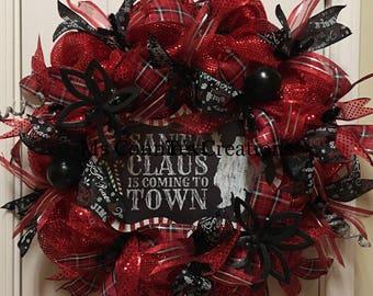 Deco Mesh Christmas Wreath Red/Black Wreath Holiday Decor Door Decor Seasonal Wreath Santa Claus Wreath