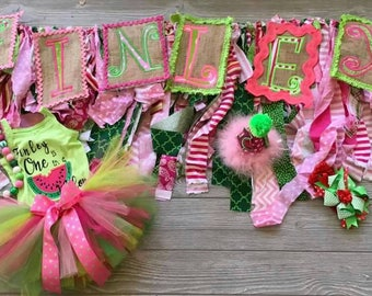 One in a Melon 7 pc party set, personalized onesie tutu set, full name banner,  Party hat, highchair garland,  birthday party set