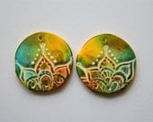 Big Round Polymer Clay Beads, Earring Beads,Handmade beads,Polymer clay beads
