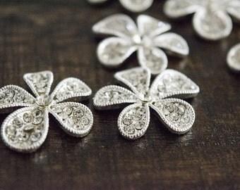 Flower metal rhinestone embellishments~flat back~Rhinestone decor pieces~Wedding bouquet decor~Flower metal decor~Pkg of 5~ReDesigns by V