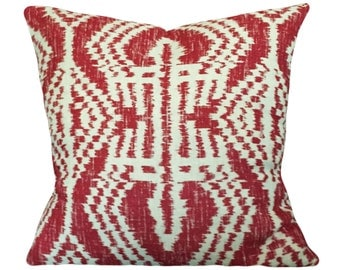 Schumacher Ikat Asaka Decorative Pillow Cover - Throw Pillow - Accent Pillow - Both Sides or Oatmeal Linen Back - ALL SIZES AVAILABLE