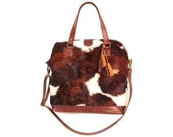 Cowhide bag, cow hide purse, brown leather bag, cow leather crossbody, oversized handbag, cowhide bags and purses, brown woman bag